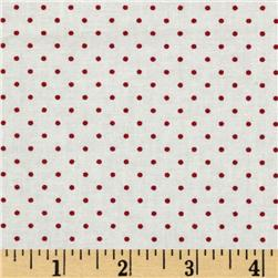 Moda Essential Dots (#8654-51) White/Red Fabric