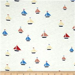 Nautical Collection Jersey Knit Sailboat Multi Red
