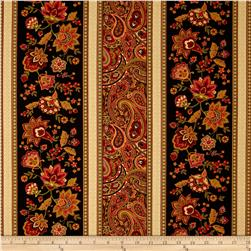 Timeless Treasures Marigold Border Stripe Black