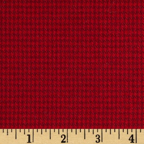 Kaufman Shetland Flannel Houndstooth Red Fabric By The Yard