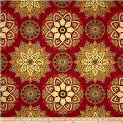 Robert Kaufman Winters Grandeur Metallic Snowflake Medallion Red