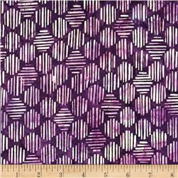 Bali Batiks Handpaint Striped Hexagon Eggplant