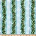 Holiday Pups Pine Cones Stripe Blue