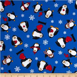 Kanvas Winter Novelty I Luv Penguins Blue