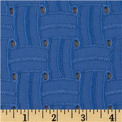 Basket Weave Cotton Eyelet Periwinkle