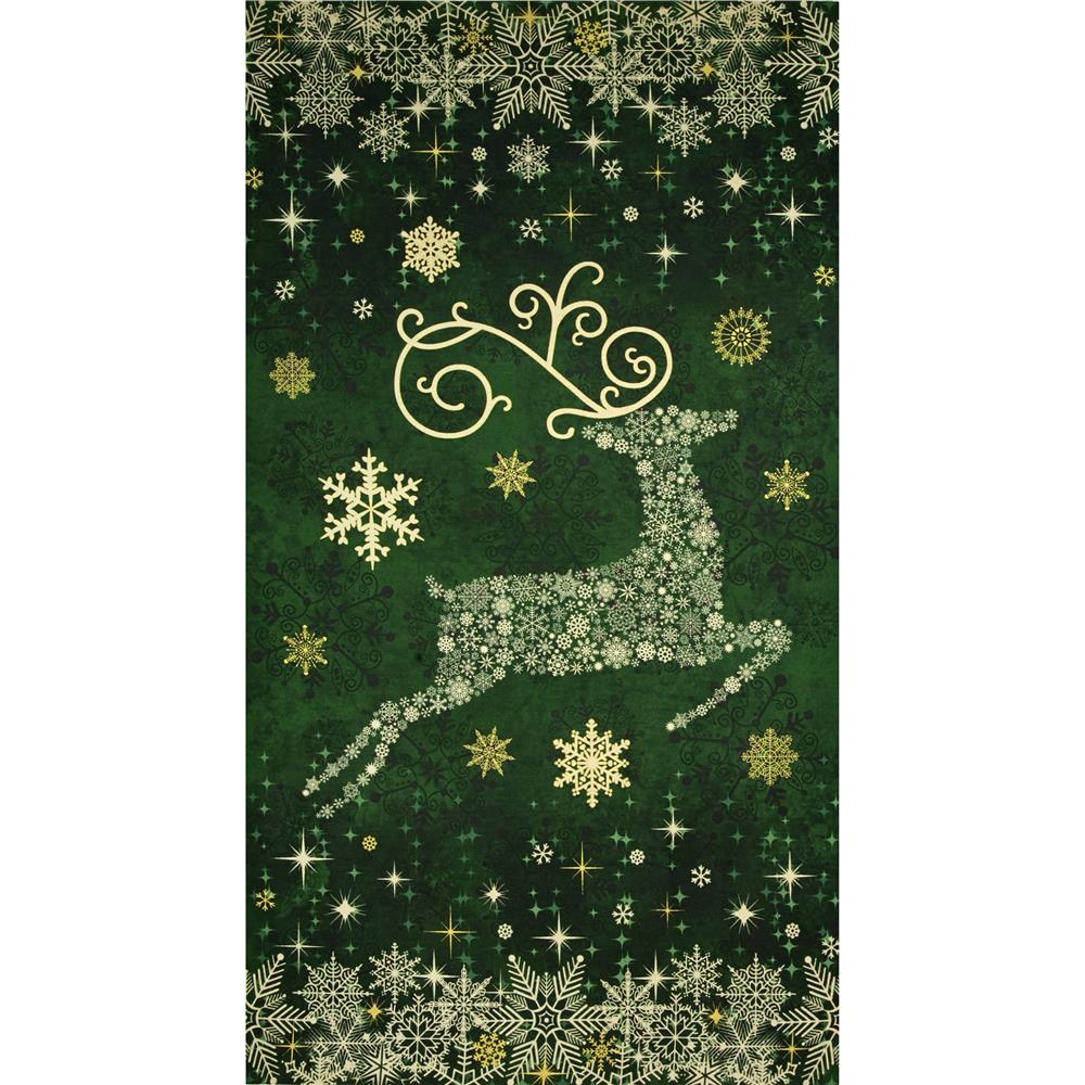 Reindeer Prance Metallic 24 In. Reindeer Panel Green