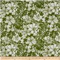 Large Hawaiian Floral White/Green