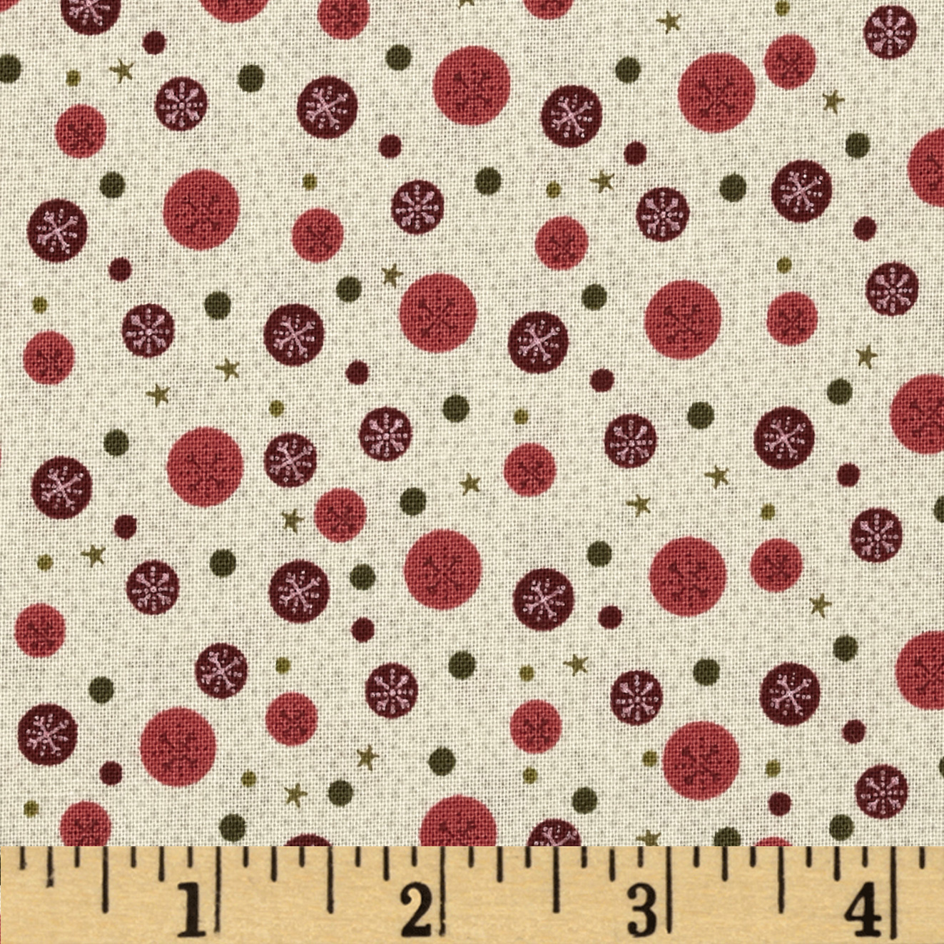 Winter Village Snowflake Dots Cream Fabric by RJR in USA