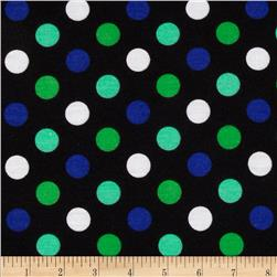 Stretch Jersey Knit Polka Dots Blue/Black/Green