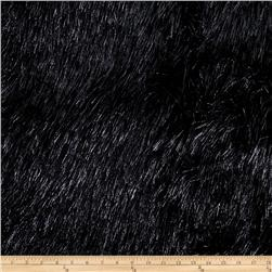 Faux Fur Electric Shag Black/Grey Fabric