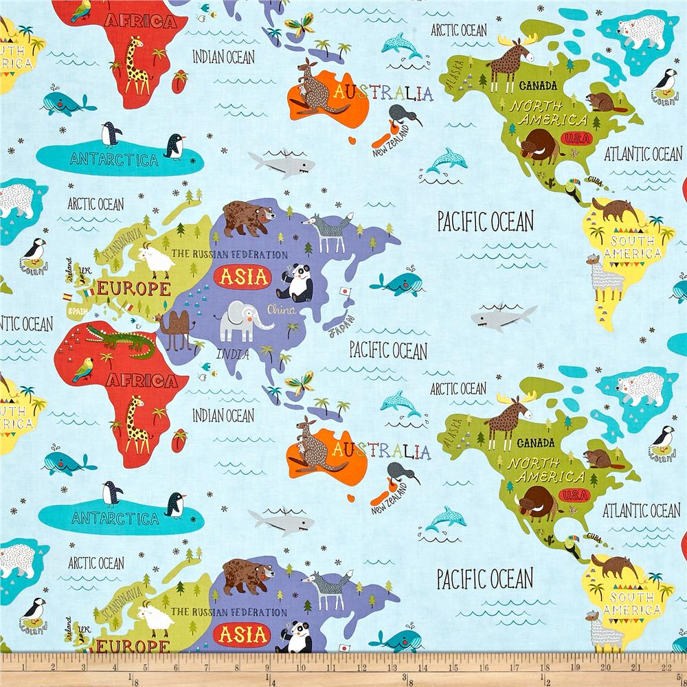 Moda hello world map sky discount designer fabric for Fabric world
