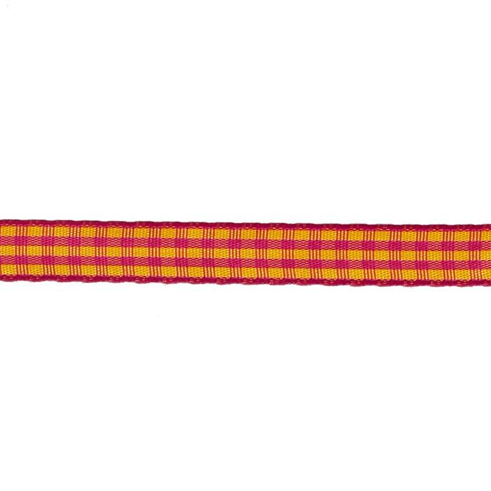 "3/8"" Yarn Dyed Checker Ribbon Yellow/Fuchsia"