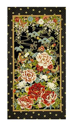 "Timeless Treasures Metallic Zen Oasis 24"" Peony Panel Black"