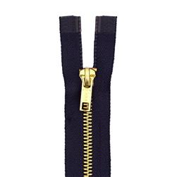 "Coats & Clark Heavy Weight Brass Separating Zipper 18"" Navy"