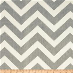 Minky Cuddle Chevron Silver/White Fabric