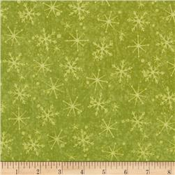 Santa's On His Way Tonal Snowflakes Olive