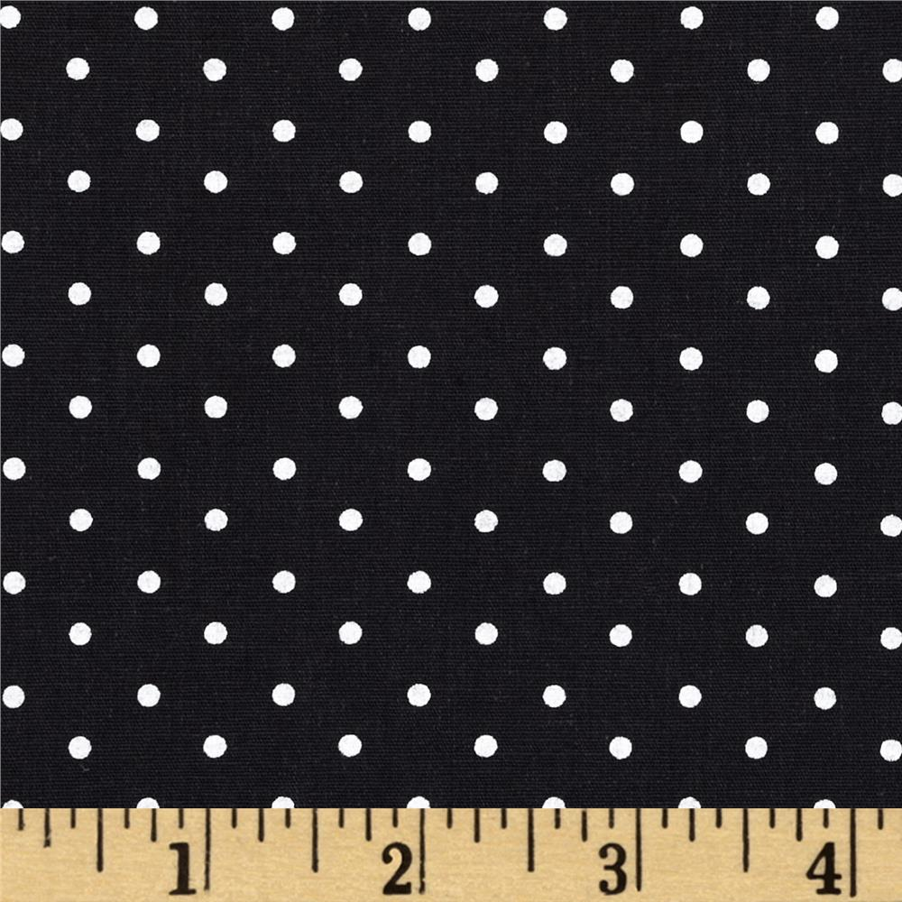 Stretch Poplin Pin Dots Black/White