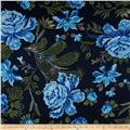 Picasso Rayon Poplin Floral Royal/Navy/Green