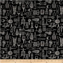 Perfectly Vintage Wine Toile Black