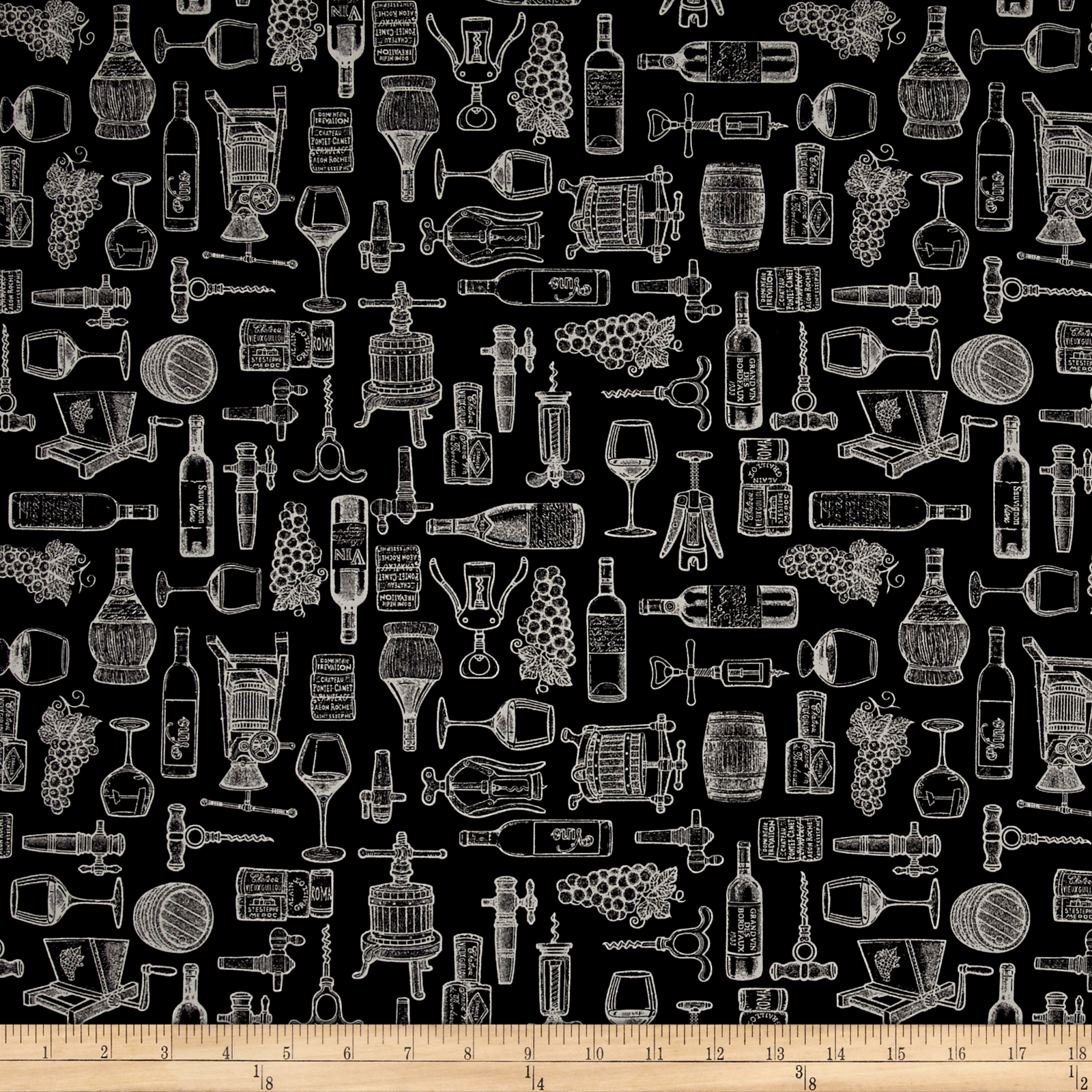 Image of Perfectly Vintage Wine Toile Black Fabric