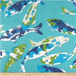 P Kaufmann Indoor/Outdoor Koi Turquoise