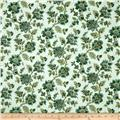 Palm Court Small Jacobean Floral Aqua