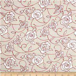 Genevieve's Garden Roses Red Fabric