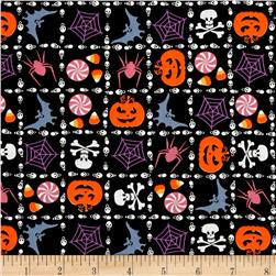 Spooktacular Halloween Skull Plaid Black