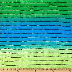 Stretch Rainbow Ruffle Knit Blue/Green Fabric