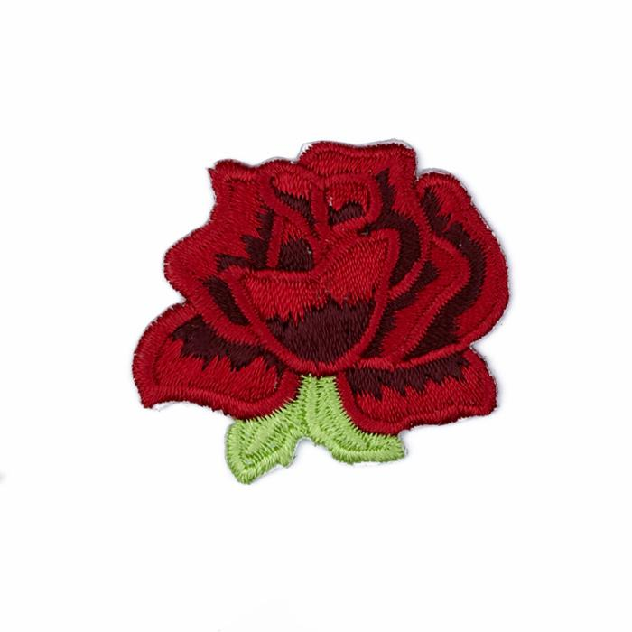 Boutique Applique Rose Red/Green