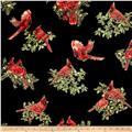 A Festive Season Metallic Backyard Cardinals Black