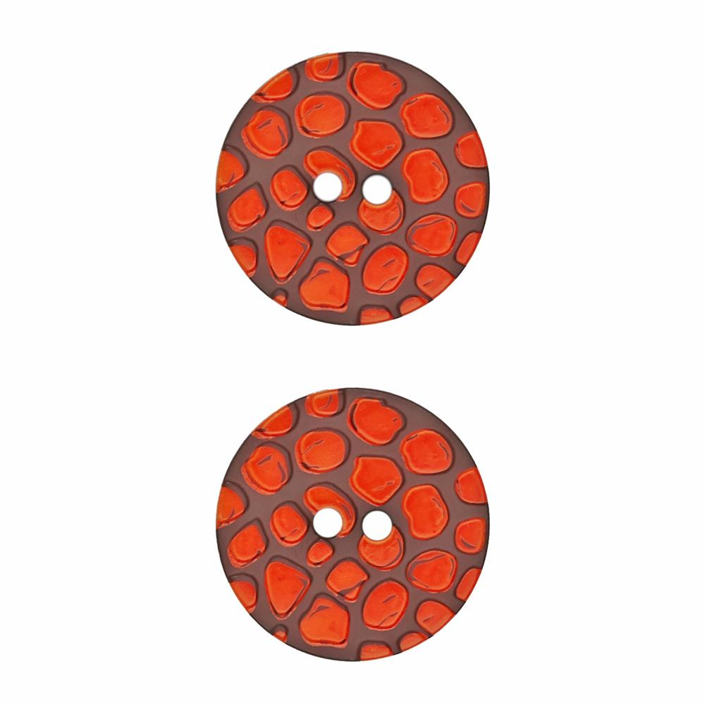 "Dill Novelty Button 1 1/8"" Orange Dot on Brown"