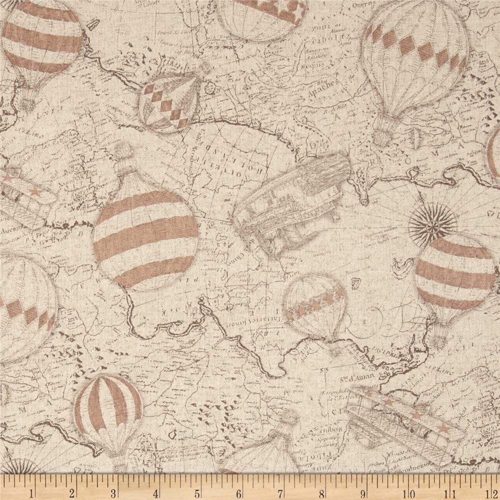 Kokka World Map & Hot Air Balloons Cotton/Linen Blend Brown