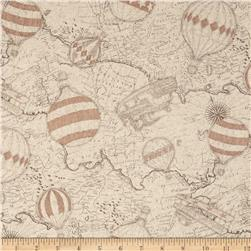 Kokka World Map & Hot Air Balloons Cotton/Linen