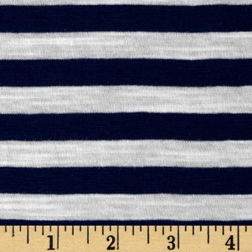 Jersey Knit Stripe Navy/White Fabric By The Yard