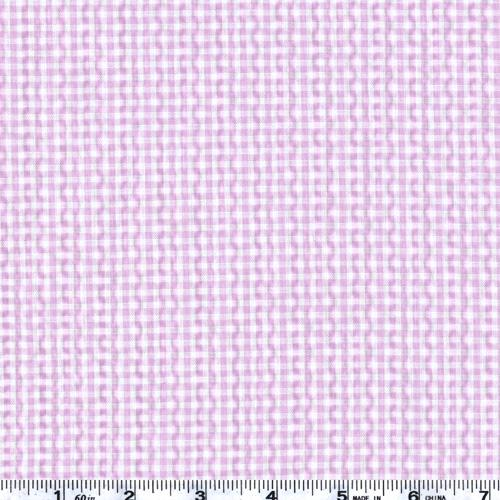 Woven Poly/Cotton Seersucker Gingham Lilac