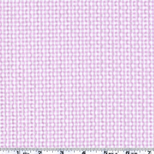Woven Poly/Cotton Seersucker Gingham Lilac Fabric