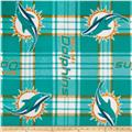 NFL Fleece Miami Dolphins Plaid Turquoise/Orange