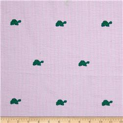 Kaufman Embroidered Seersucker Turtles Pink Fabric