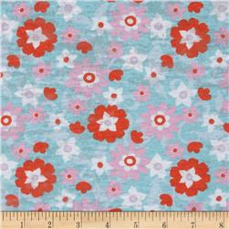 T-Shirt Jersey Knit Floral Blue/Orange/Pink
