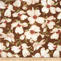 Velvet Blossoms Flannel Large Blossoms Floral Brown Fabric