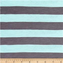 Jersey Knit Stripes Turquoise / Gray