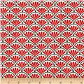 Kanvas Moon Flower Fan Geo Scallop Cream/Red