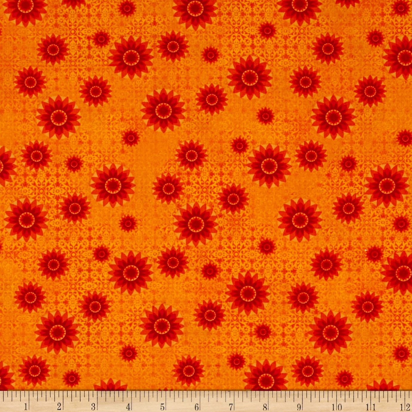Calypso Heirloom Orange/Red Fabric by Fabri-Quilt in USA