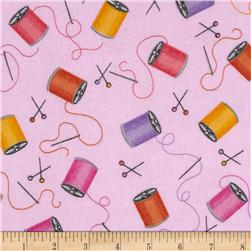 Flannel Tossed Needles & Thread Pink