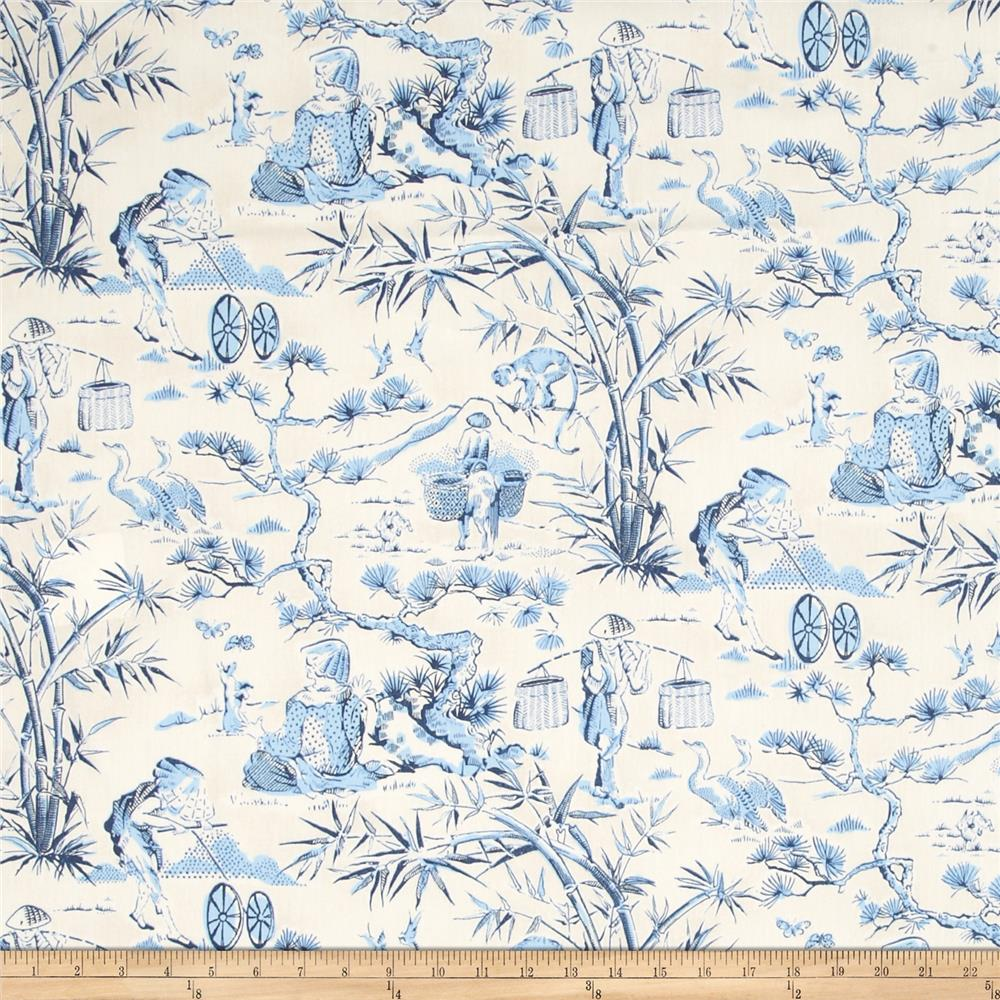Waverly haiku toile chintz indigo discount designer for Waverly wallpaper