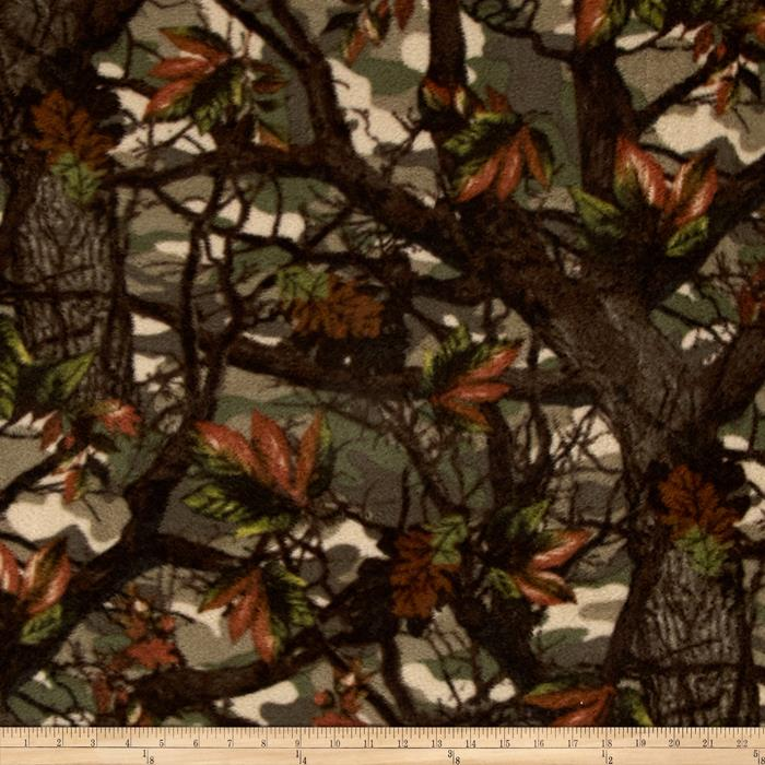 Branches & Leaves Fleece Green/Brown/Rust Fabric By The Yard