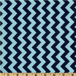 Riley Blake Chevron Small Aqua/Navy Fabric