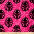 Michael Miller Skulls Out Goth Damask Fuschia