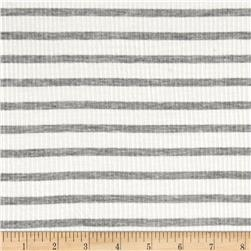 Rib Knit Stripe Ivory Heather Gray